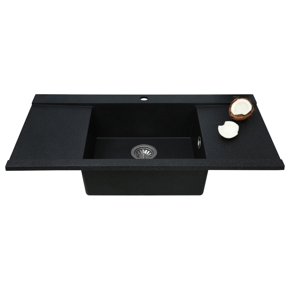 Granite kitchen sink Perfelli ETERNO PGE 1251-96 BLACK METALLIC