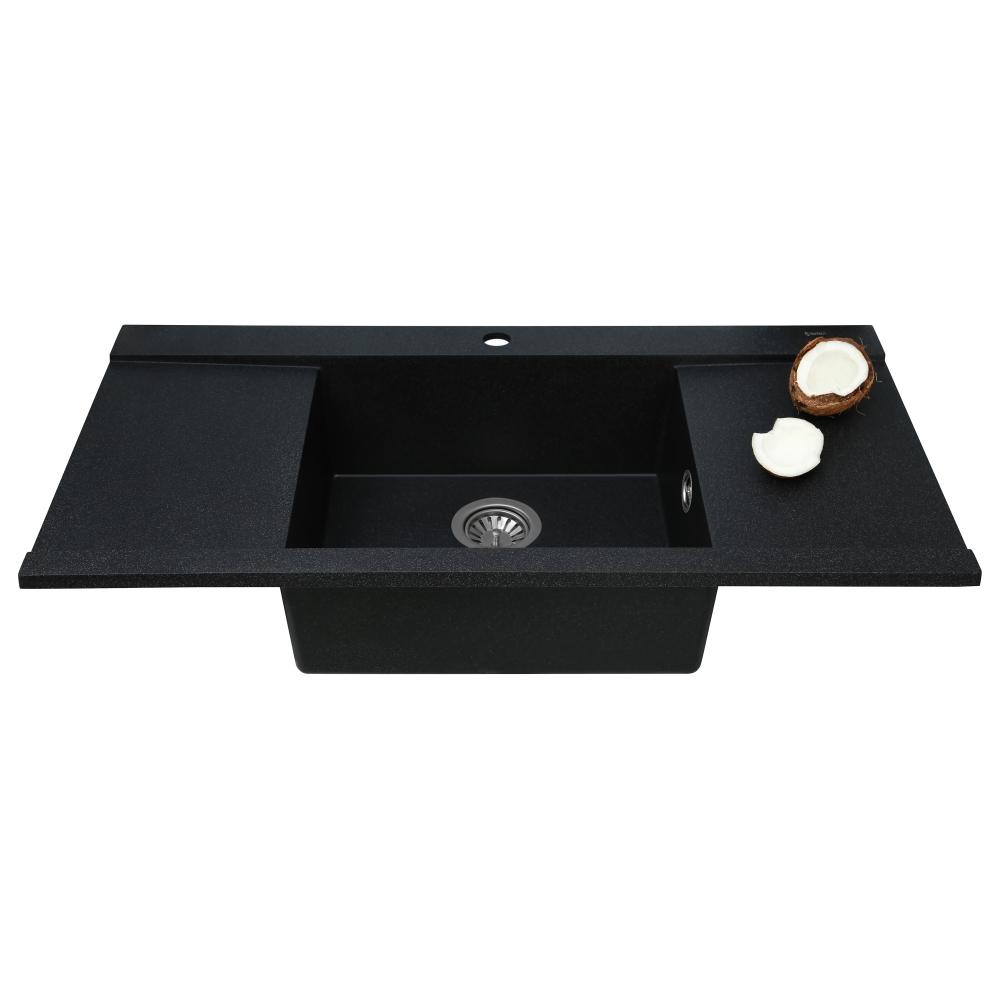 Lavello da cucina in granito Perfelli ETERNO PGE 1251-96 BLACK METALLIC