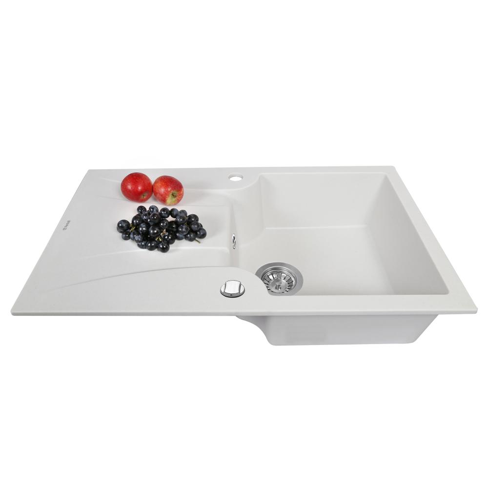 Granite kitchen sink Perfelli FELICINETTO PGF 114-78 WHITE