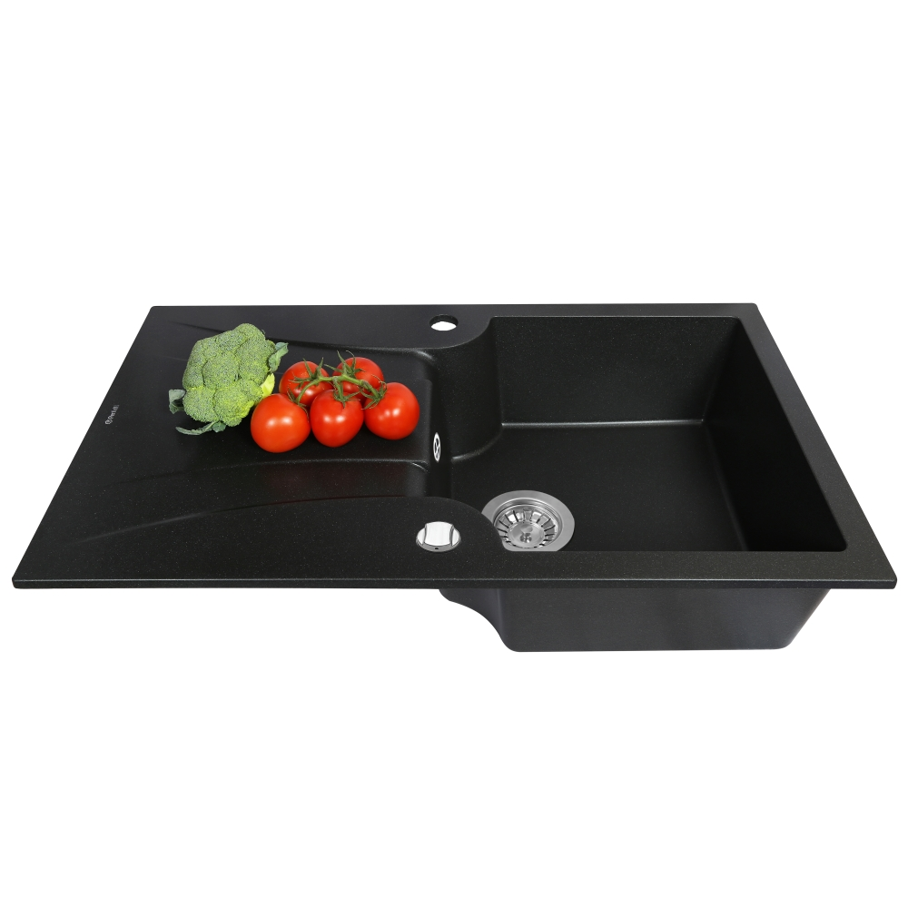 Granite kitchen sink Perfelli FELICINETTO PGF 1141-78 BLACK METALLIC