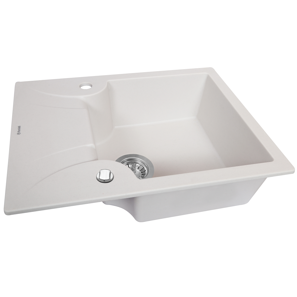Granite kitchen sink Perfelli FELICITA PGF 134-60 WHITE