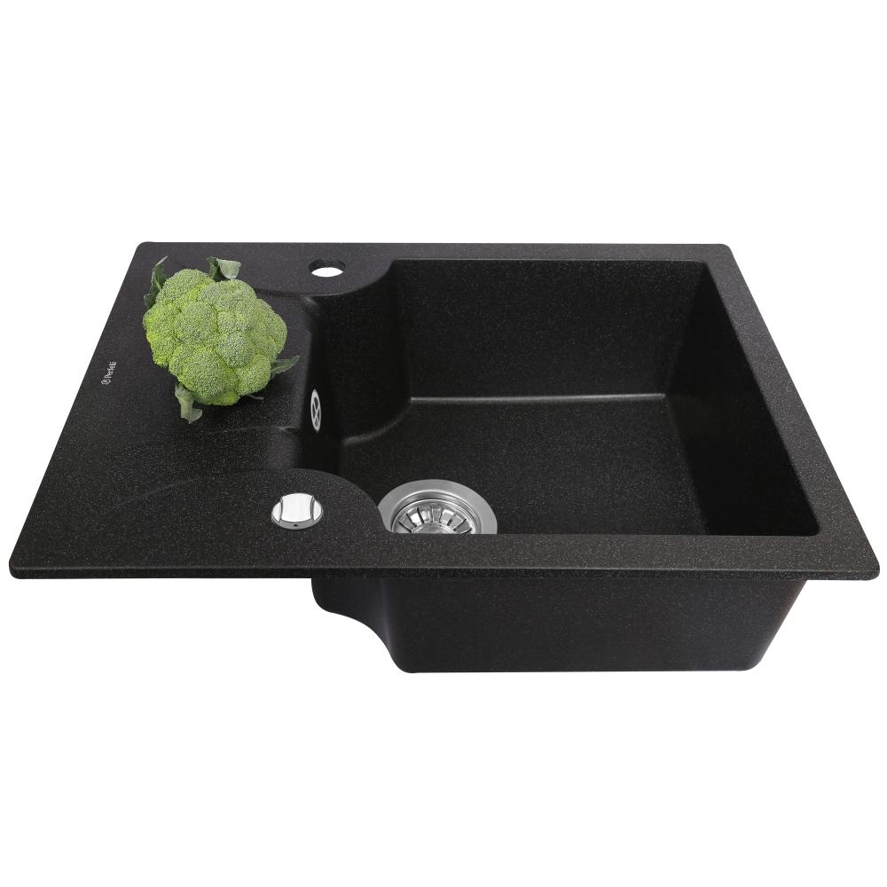 Мойка кухонная гранитная  Perfelli FELICITA PGF 1341-60 BLACK METALLIC