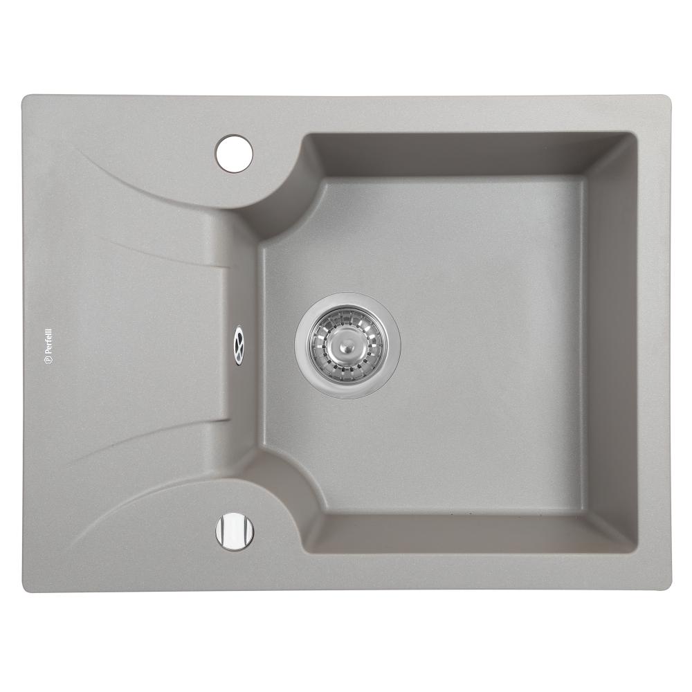 Мийка кухонна гранітна  Perfelli FELICITA PGF 1341-60 GREY METALLIC