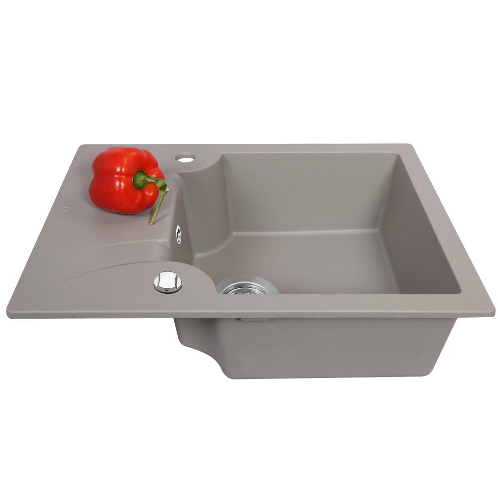 Мойка кухонная гранитная  Perfelli FELICITA PGF 1341-60 GREY METALLIC