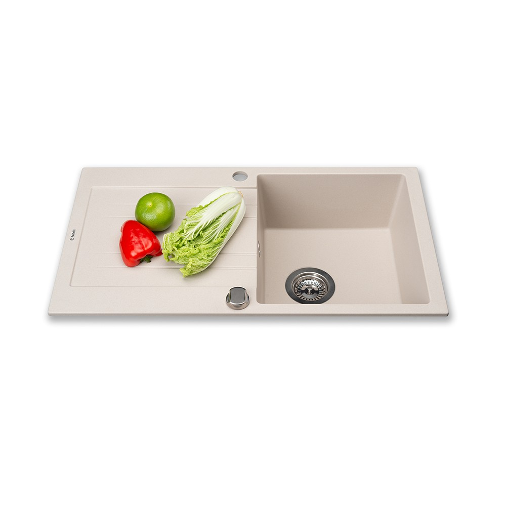 Granite kitchen sink Perfelli FIORA PGF 114-78 LIGHT BEIGE
