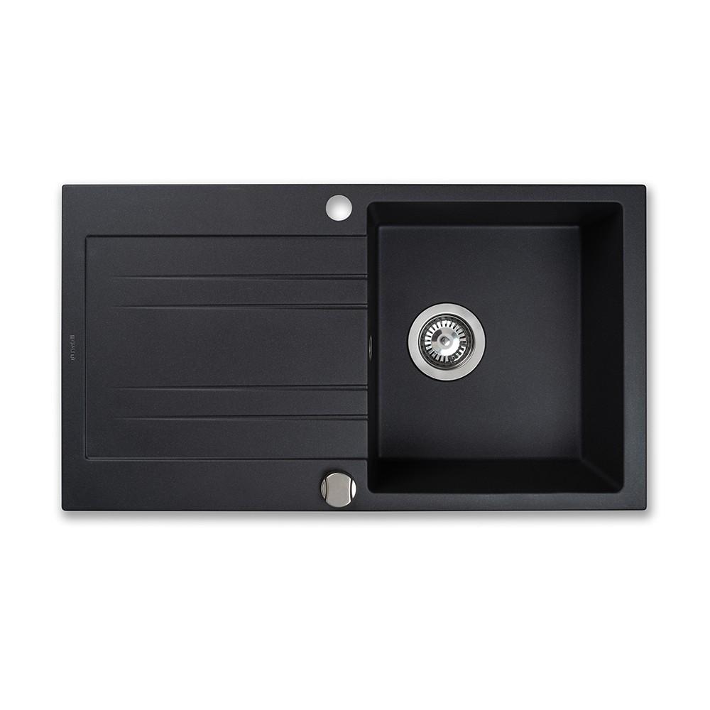 Мойка кухонная гранитная Perfelli FIORA PGF 1141-78 BLACK METALLIC