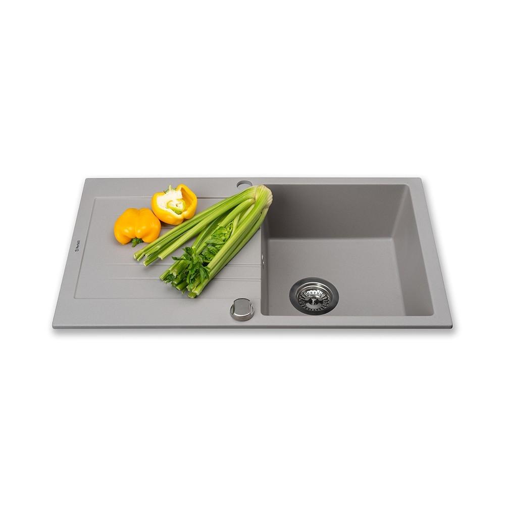 Мойка кухонная гранитная  Perfelli FIORA PGF 1141-78 GREY METALLIC
