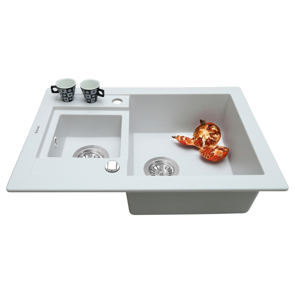Lavello da cucina in granito Perfelli GRANZE PGG 506-67 WHITE