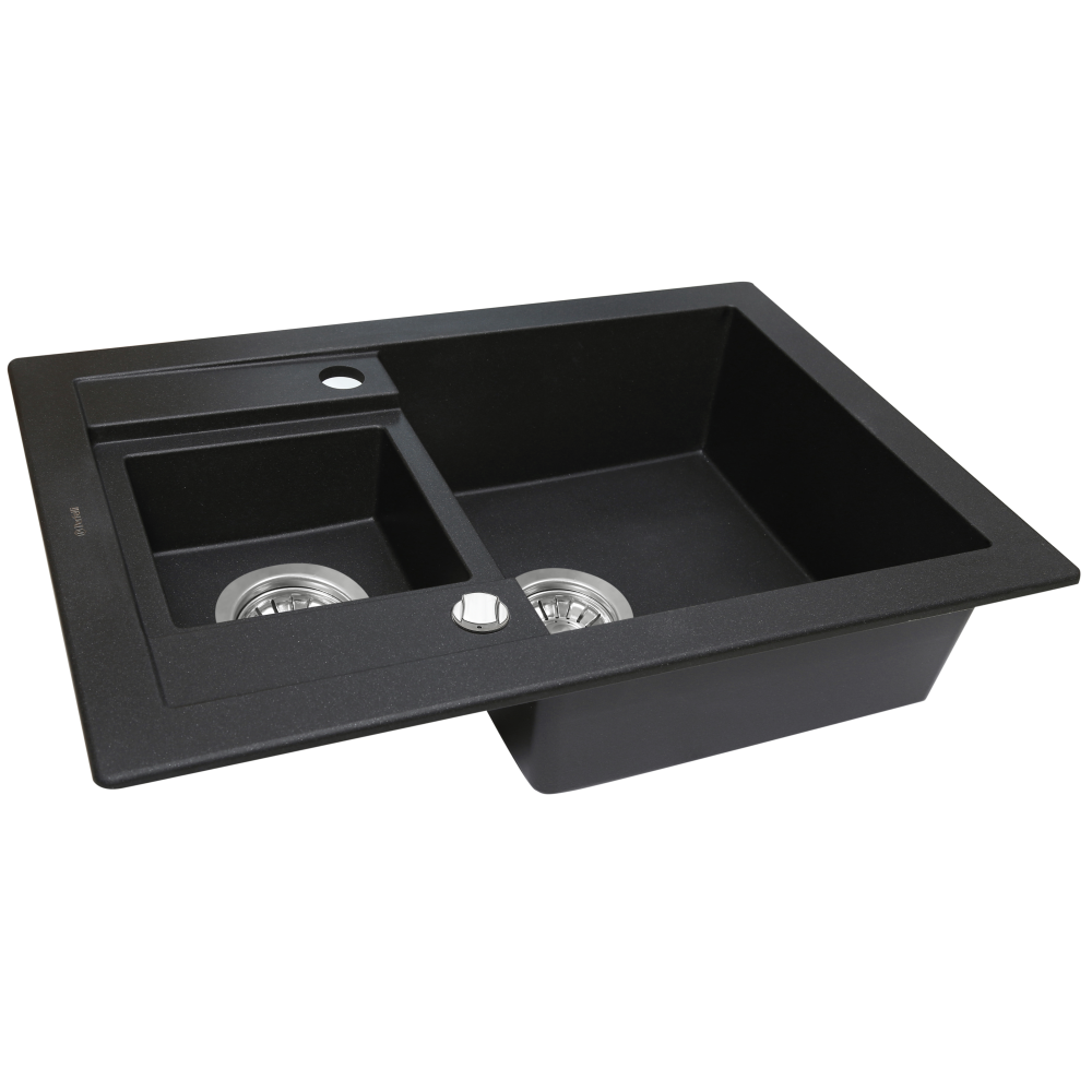 Granite kitchen sink Perfelli GRANZE PGG 5061-67 BLACK METALLIC