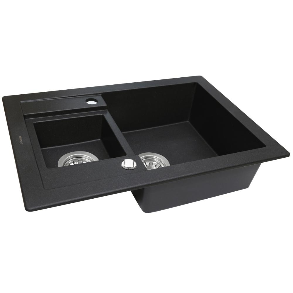 Мийка кухонна гранітна  Perfelli GRANZE PGG 5061-67 BLACK METALLIC