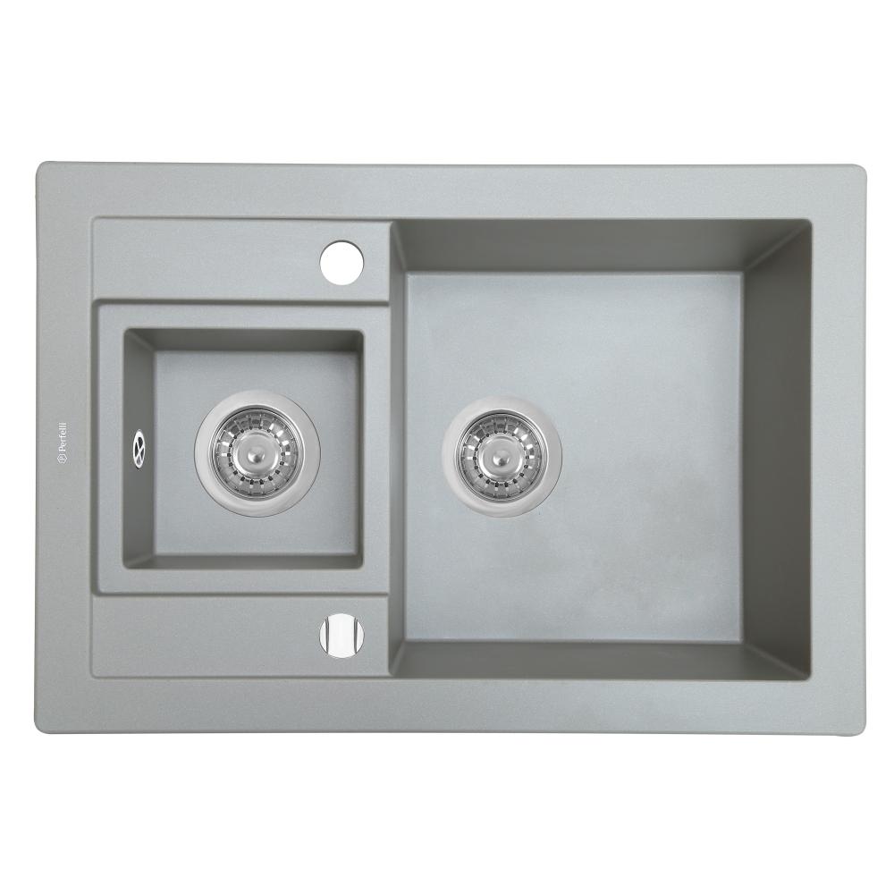 Granite kitchen sink Perfelli GRANZE PGG 5061-67 GREY METALLIC