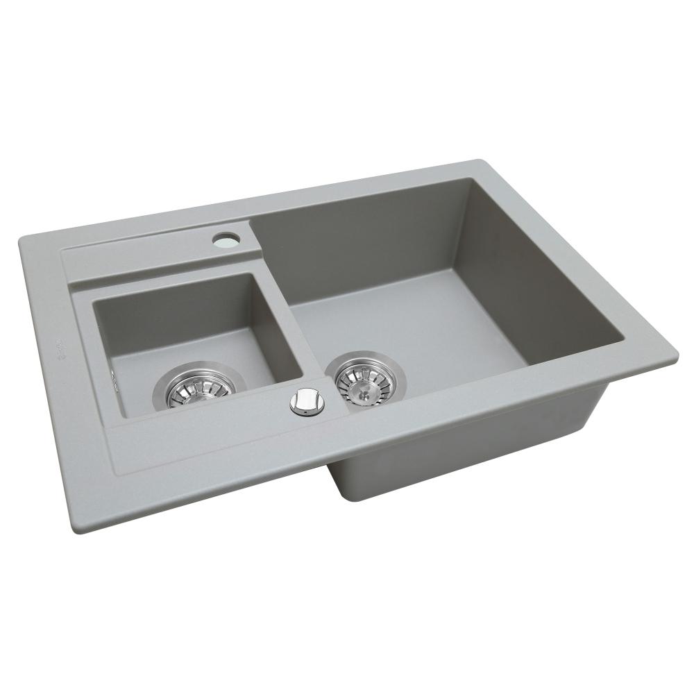 Мийка кухонна гранітна  Perfelli GRANZE PGG 5061-67 GREY METALLIC