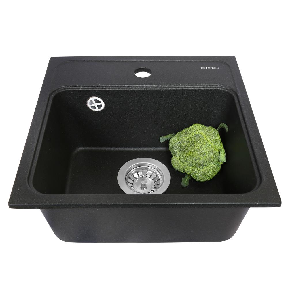 Granite kitchen sink Perfelli GRASSO SGG 104-40 BLACK
