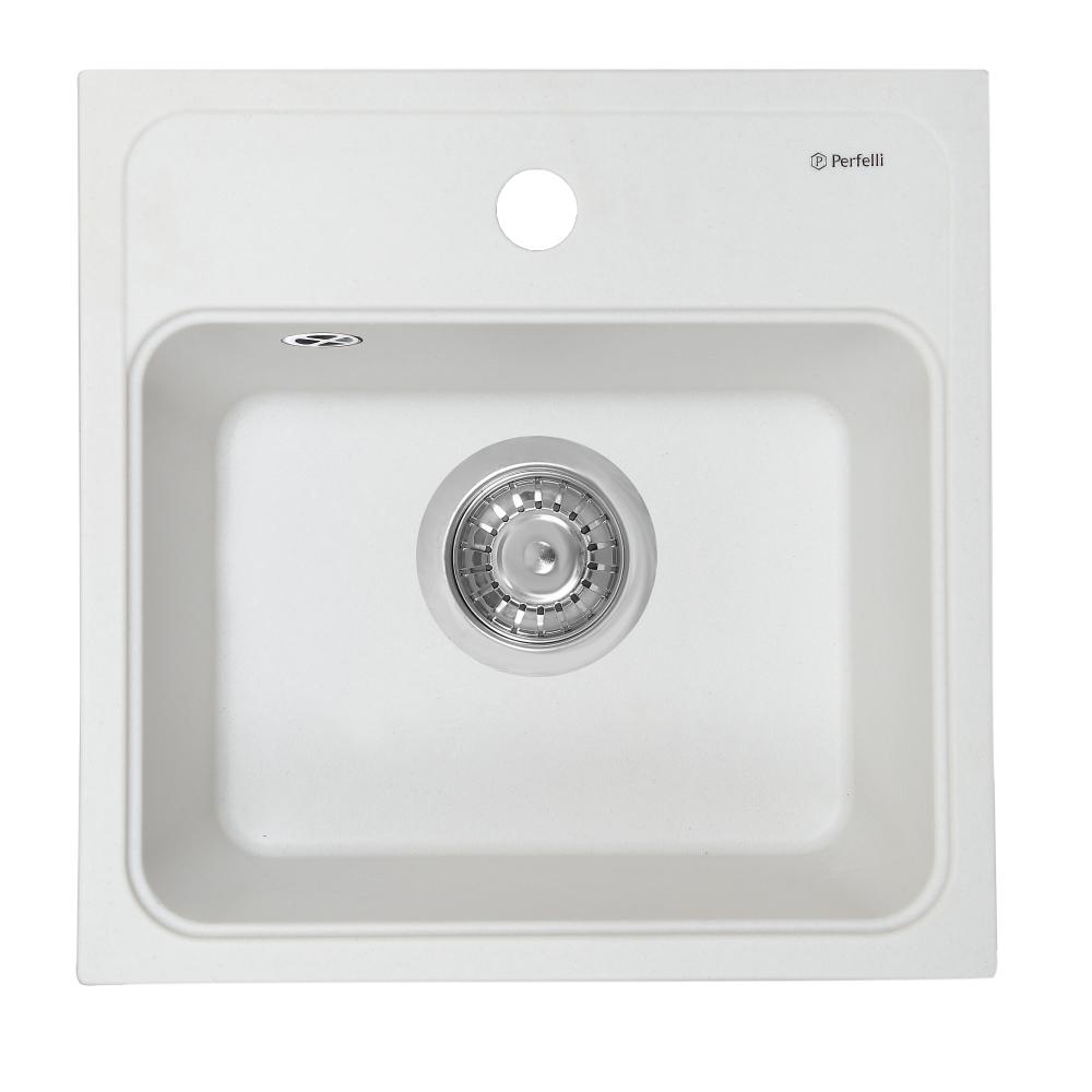 Granite kitchen sink Perfelli GRASSO SGG 104-40 WHITE