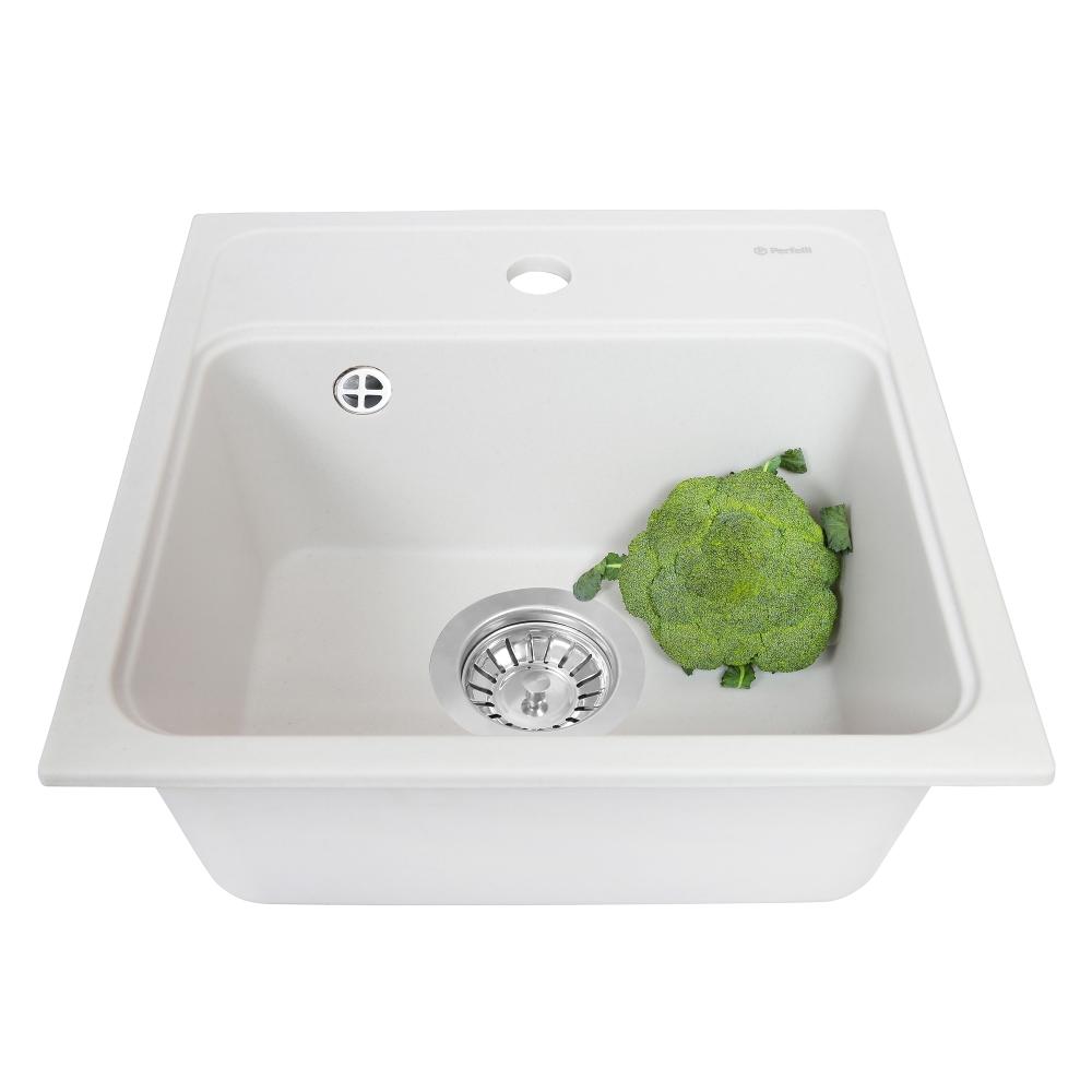 Мийка кухонна гранітна  Perfelli GRASSO SGG 104-40 WHITE