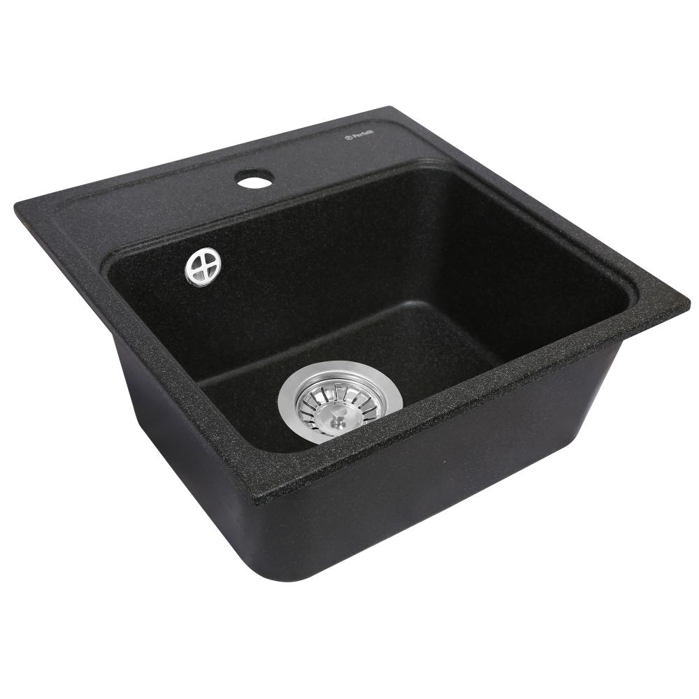 Granite kitchen sink Perfelli GRASSO SGG 1041-40 BLACK METALLIC