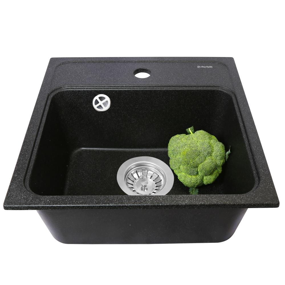 Мойка кухонная гранитная  Perfelli GRASSO SGG 1041-40 BLACK METALLIC