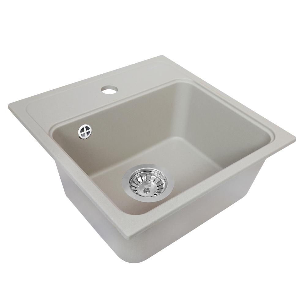 Granite kitchen sink Perfelli GRASSO SGG 1041-40 GREY METALLIC