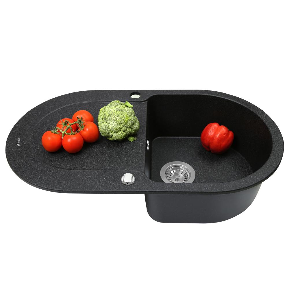 Granite kitchen sink Perfelli IZETTA OGI 1141-78 BLACK METALLIC