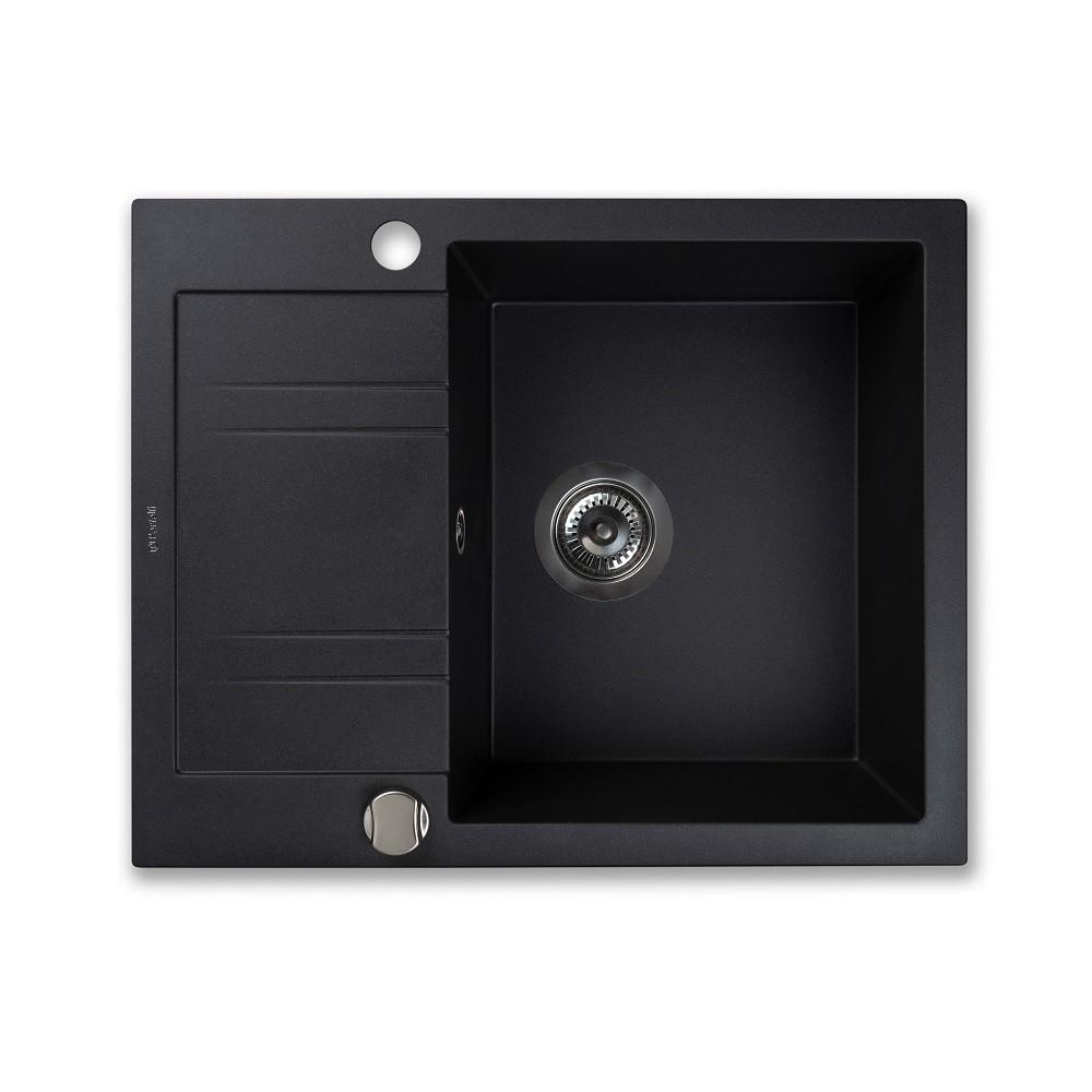 Мийка кухонна гранітна  Perfelli LINEA PGL 1341-60 BLACK METALLIC