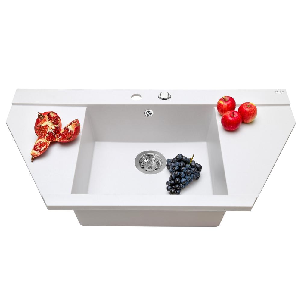 Granite kitchen sink Perfelli MAJESTIC TGM 125-96 WHITE