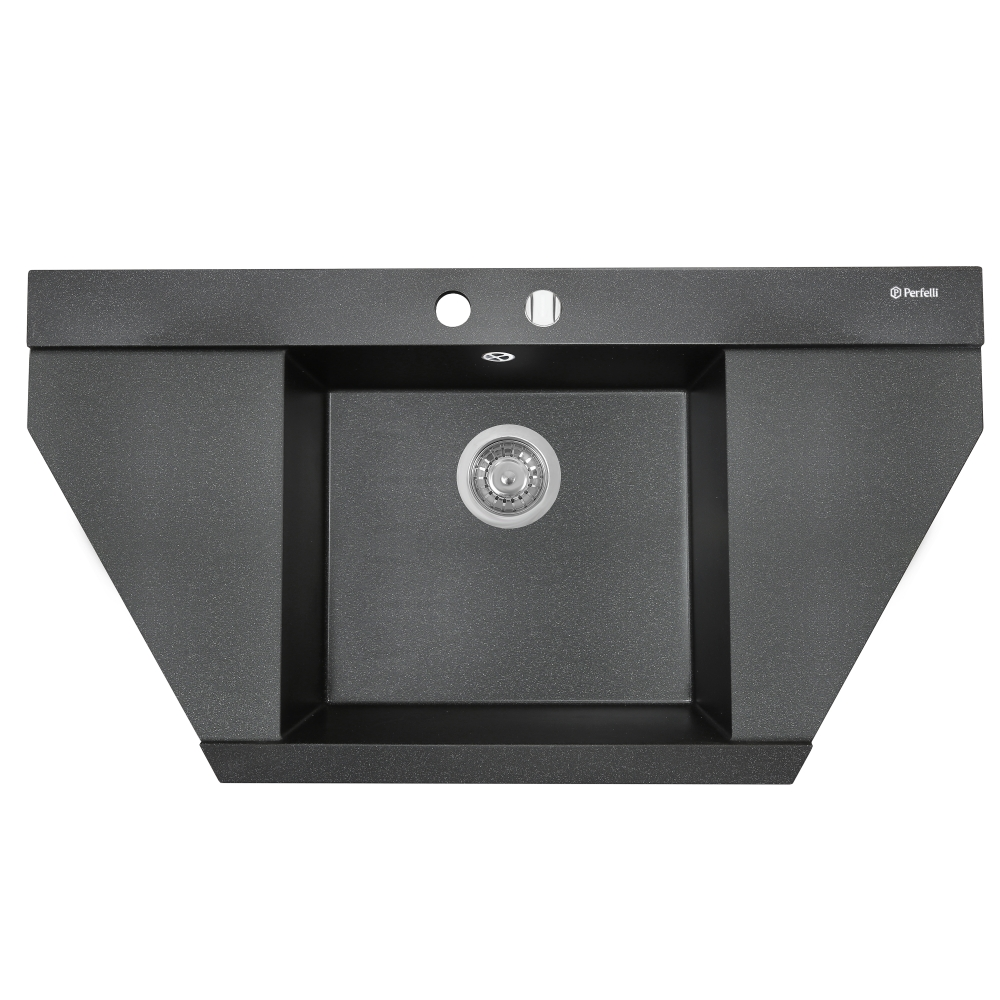 Мойка кухонная гранитная Perfelli MAJESTIC TGM 1251-96 BLACK METALLIC
