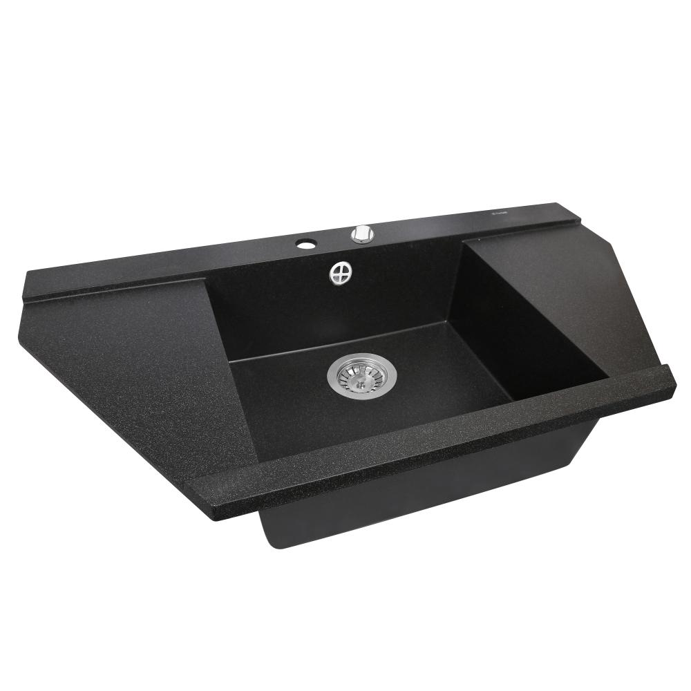 Granite kitchen sink Perfelli MAJESTIC TGM 1251-96 BLACK METALLIC