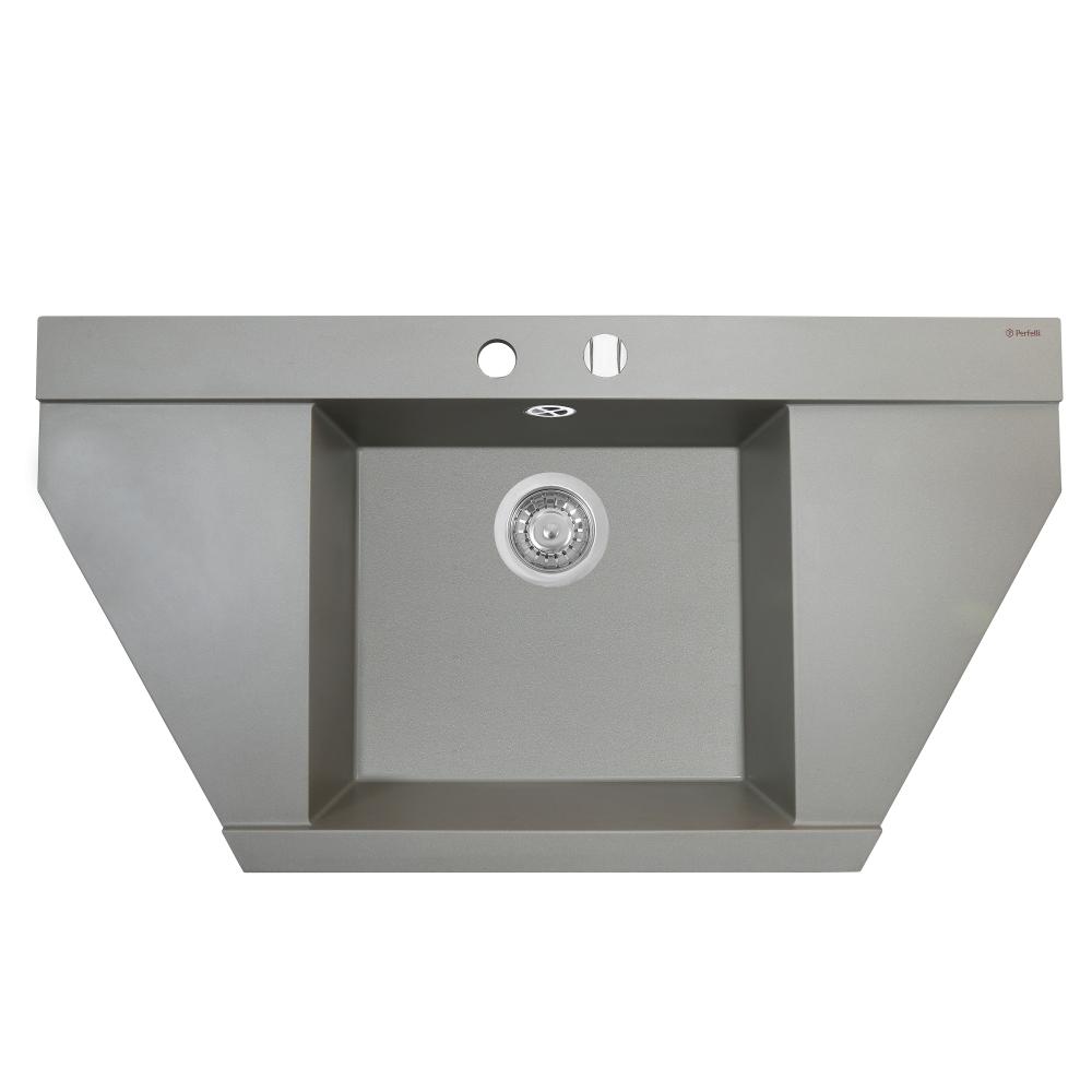 Мойка кухонная гранитная  Perfelli MAJESTIC TGM 1251-96 GREY METALLIC