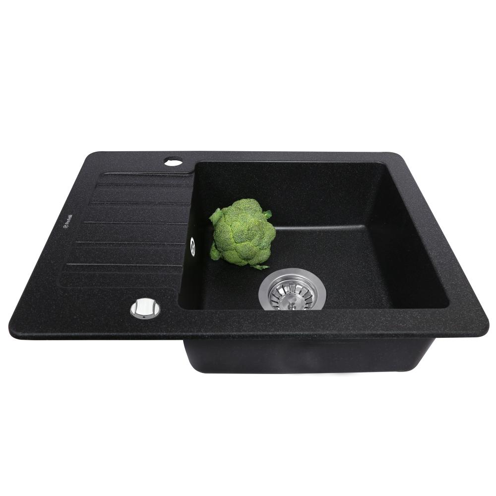 Lavello da cucina in granito Perfelli PICCOLO PGP 1341-58 BLACK METALLIC