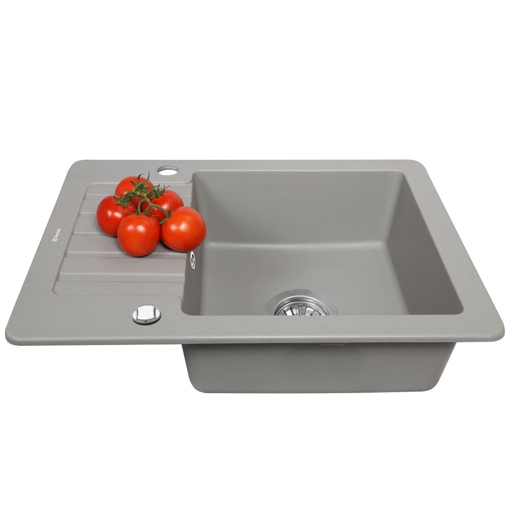 Мойка кухонная гранитная  Perfelli PICCOLO PGP 1341-58 GREY METALLIC