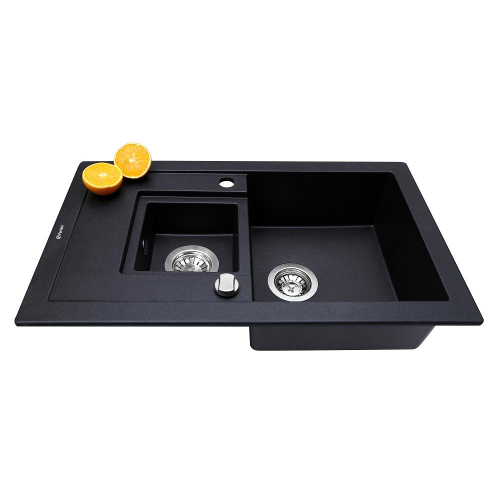 Granite kitchen sink Perfelli PIERRA PGP 536-78 BLACK