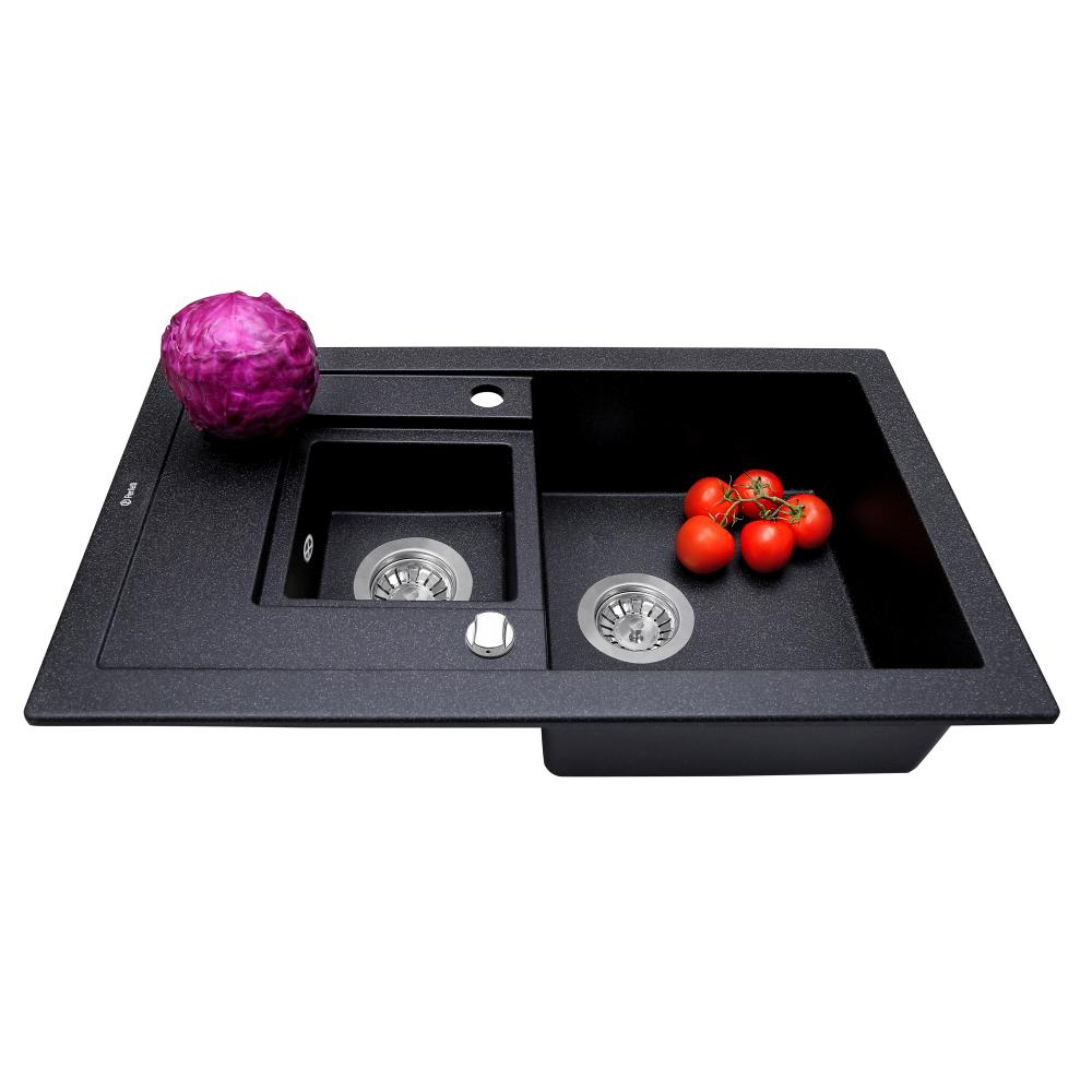 Granite kitchen sink Perfelli PIERRA PGP 5361-78 BLACK METALLIC