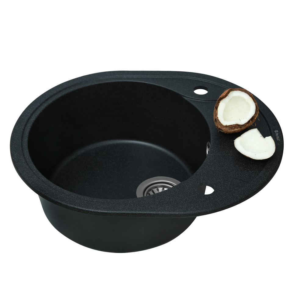 Granite kitchen sink Perfelli PRIMO OGP 1351-58 BLACK METALLIC