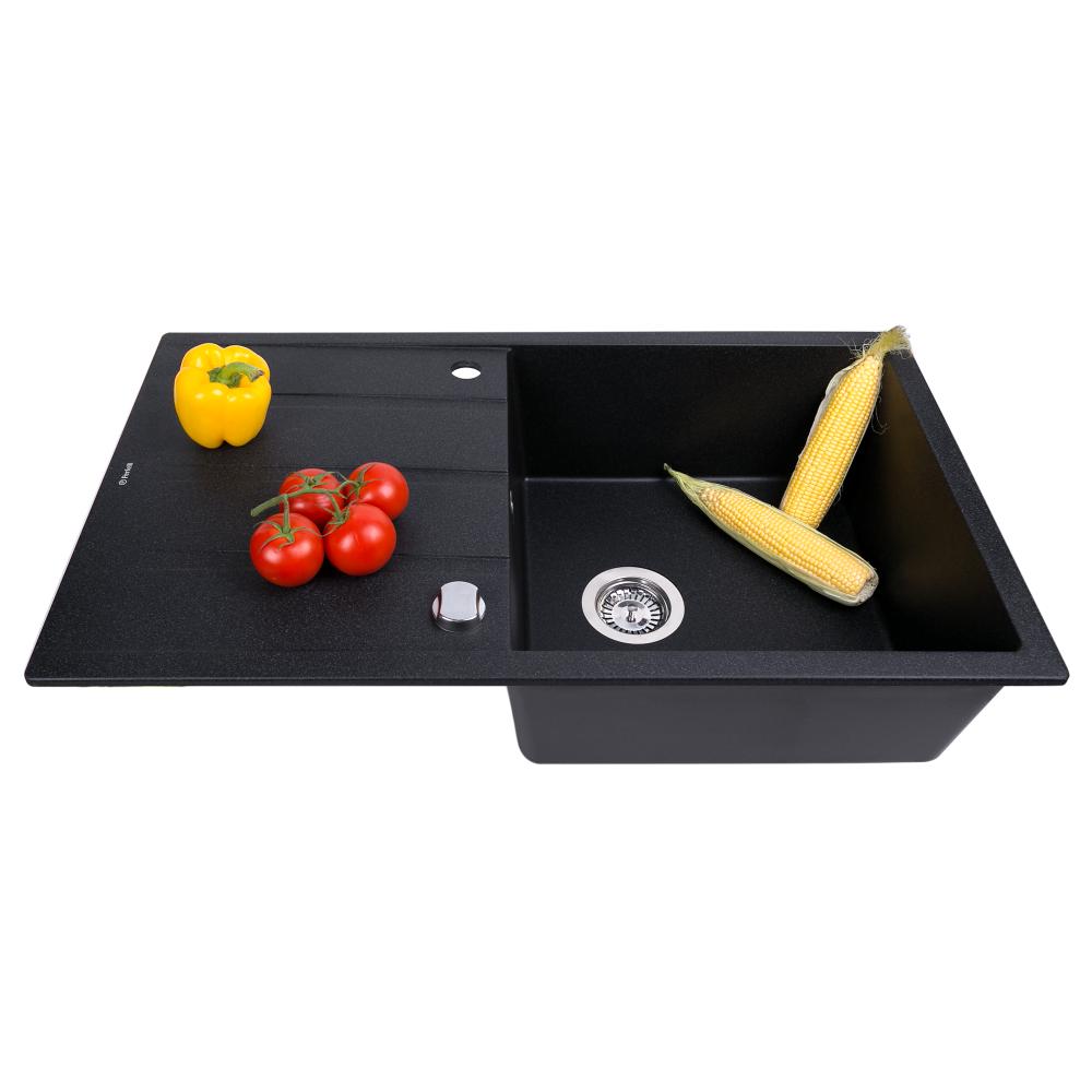 Granite kitchen sink Perfelli RIVIERA PGR 1141-86 BLACK METALLIC