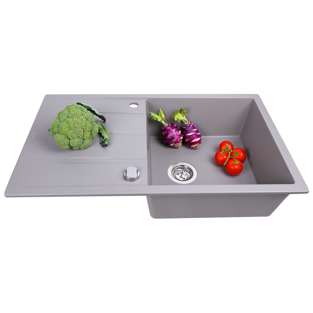 Granite kitchen sink Perfelli RIVIERA PGR 1141-86 GREY METALLIC