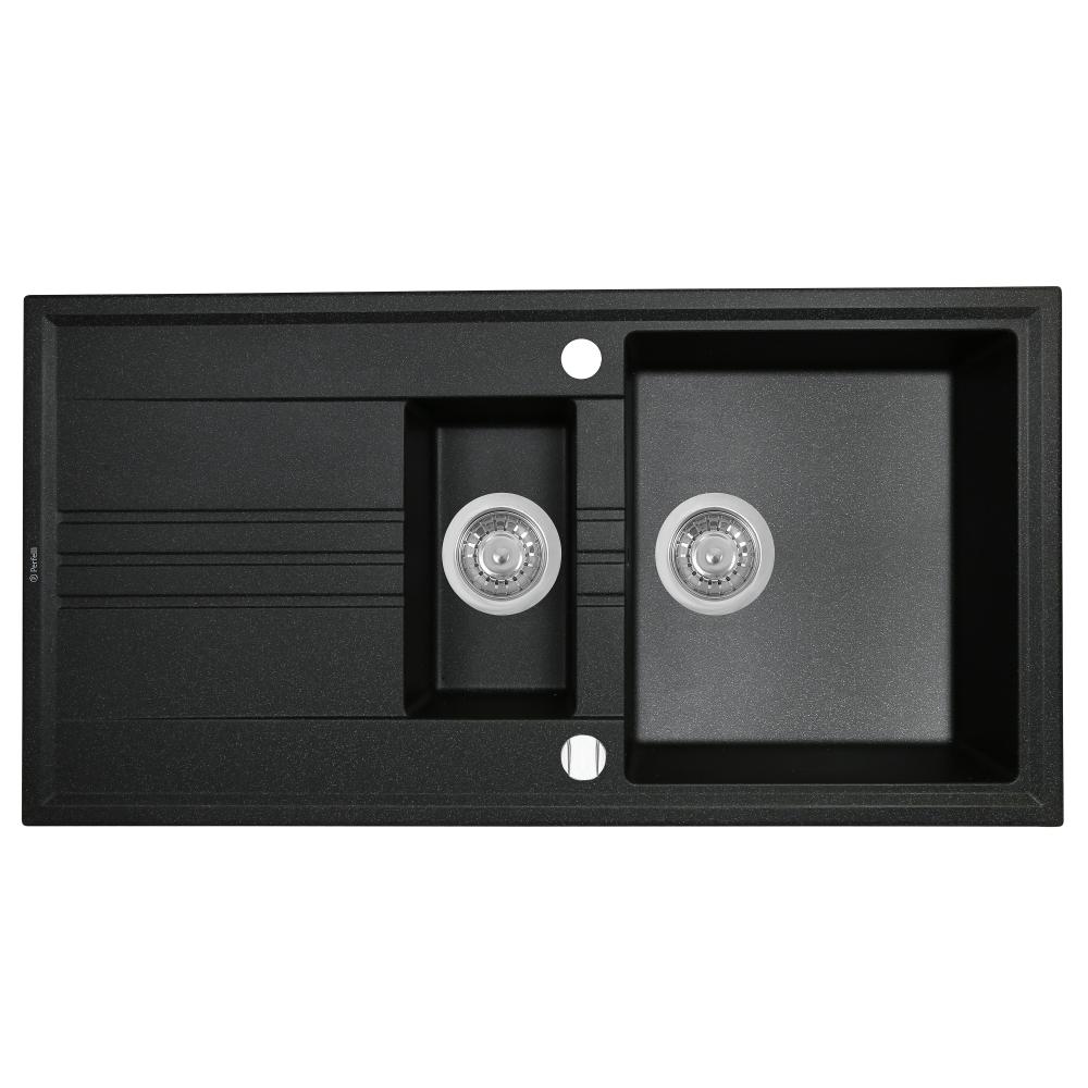 Lavello da cucina in granito Perfelli SANTINO PGS 5161-96 BLACK METALLIC