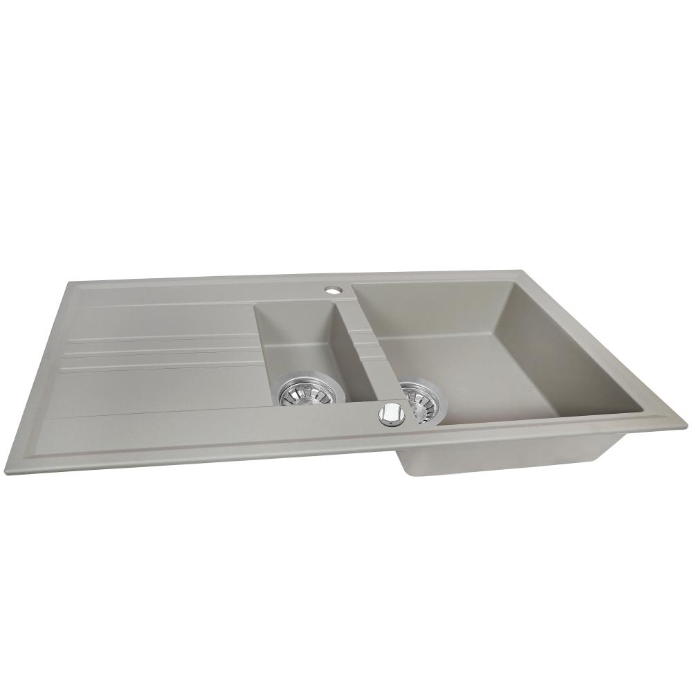 Мойка кухонная гранитная  Perfelli SANTINO PGS 5161-96 GREY METALLIC