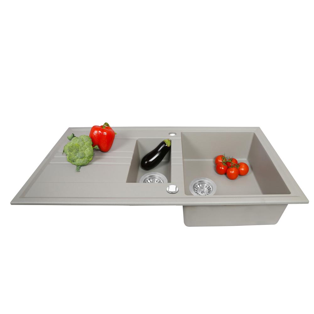 Granite kitchen sink Perfelli SANTINO PGS 5161-96 GREY METALLIC