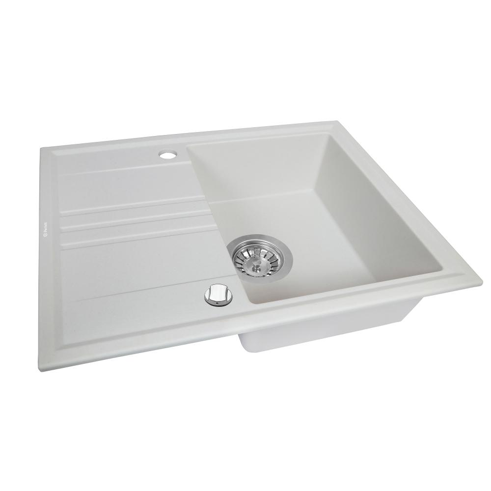 Granite kitchen sink Perfelli SILVE PGS 134-64 WHITE