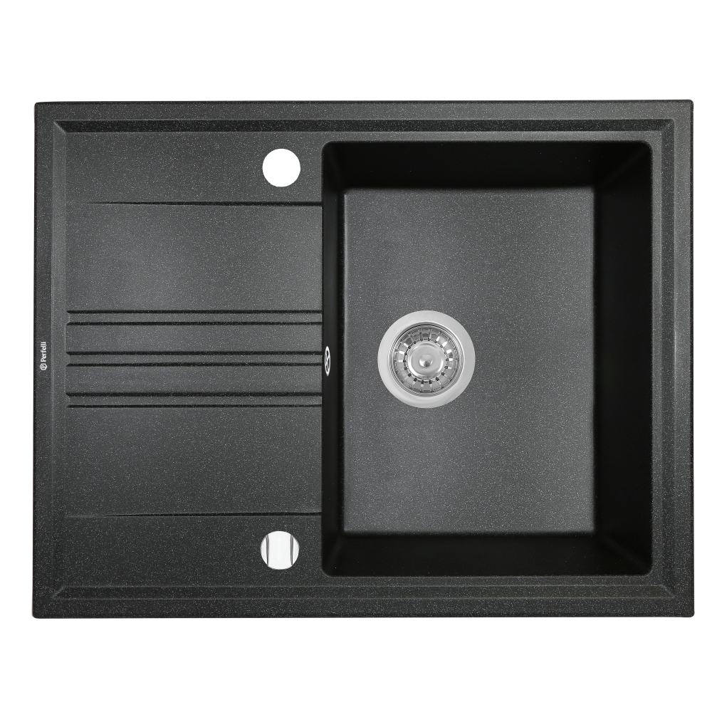 Granite kitchen sink Perfelli SILVE PGS 1341-64 BLACK METALLIC