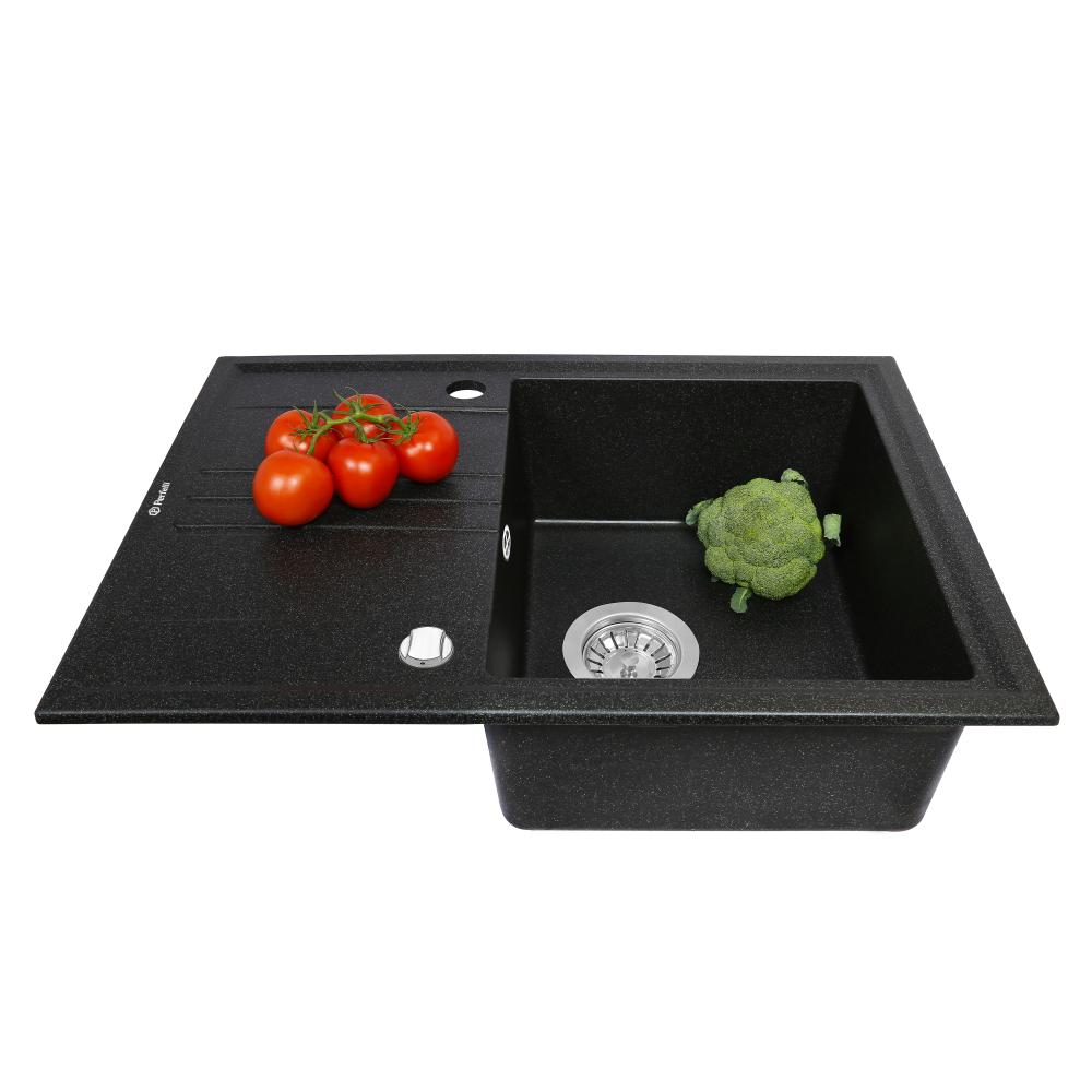 Granite kitchen sink Perfelli SILVE PGS 1341-64 BLACK METALLIC