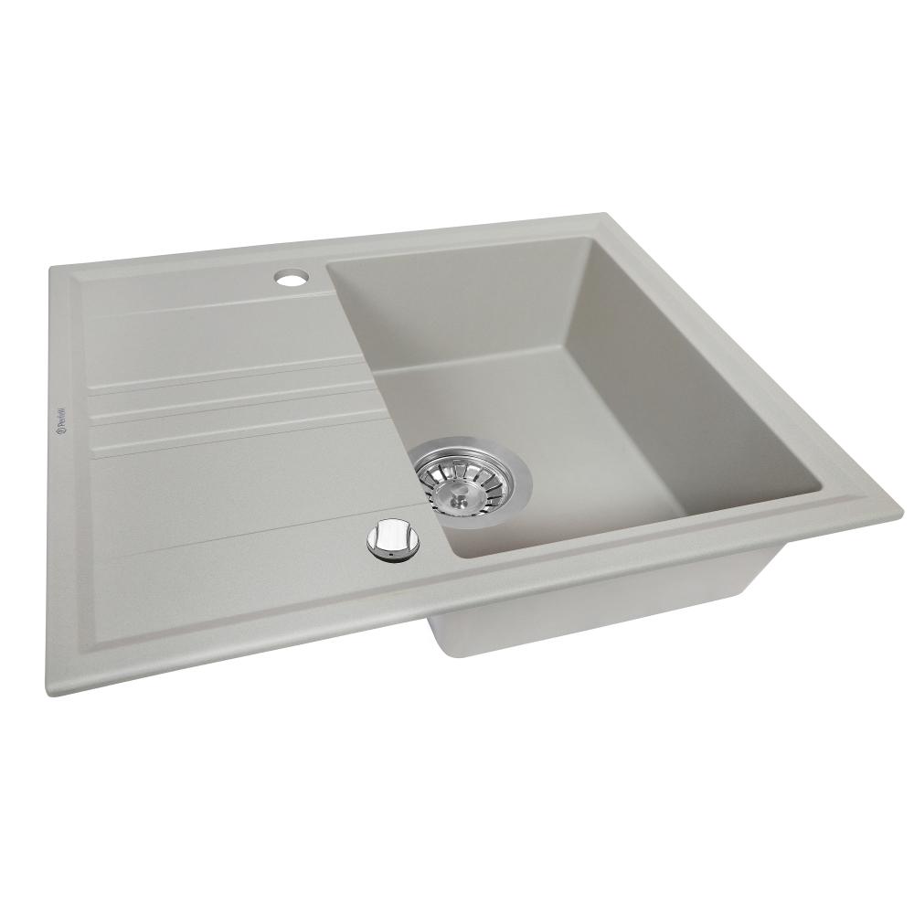 Granite kitchen sink Perfelli SILVE PGS 1341-64 GREY METALLIC