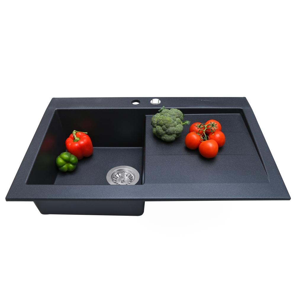 Granite kitchen sink Perfelli SOLO PGS 118-80 BLACK