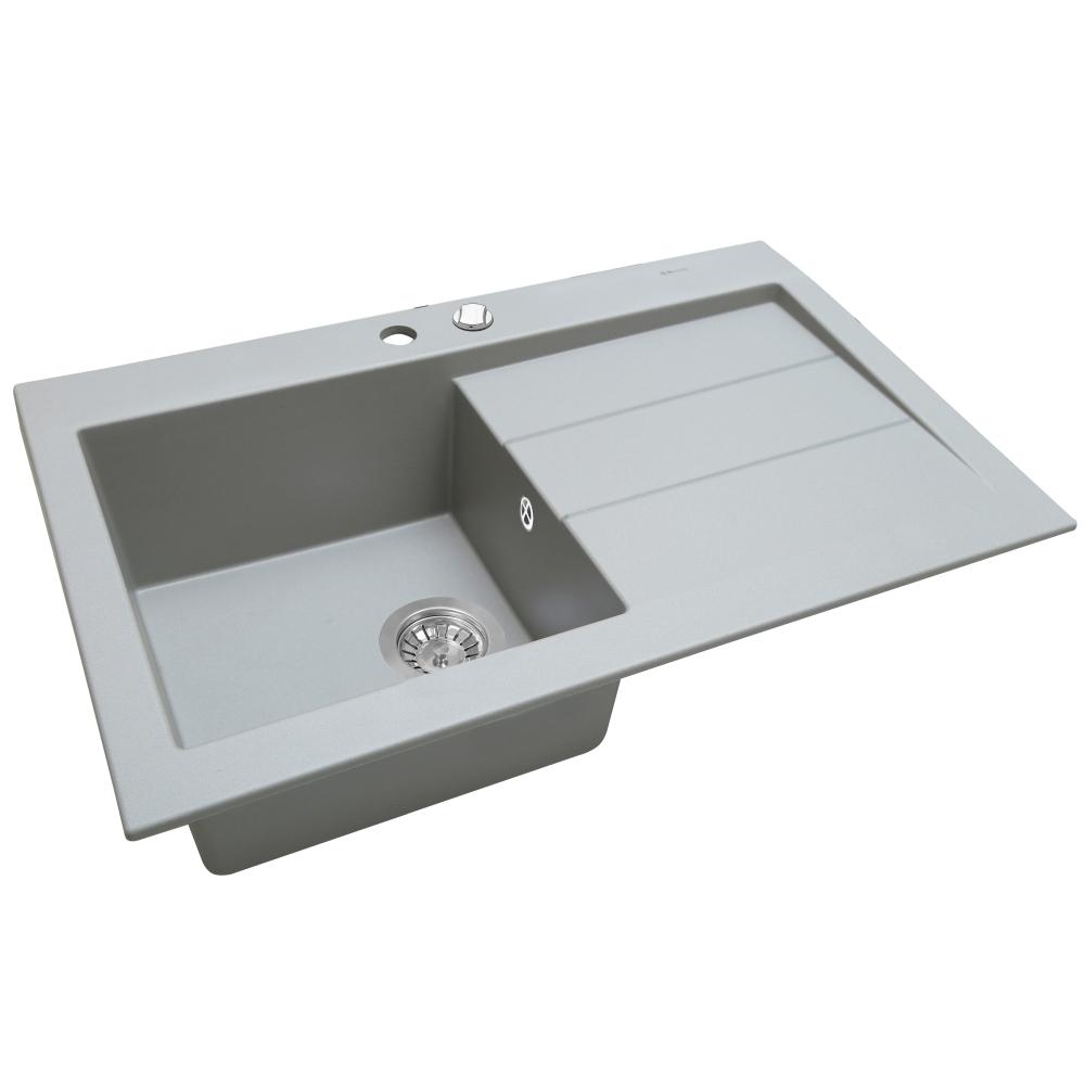 Мийка кухонна гранітна  Perfelli SOLO PGS 1181-80 GREY METALLIC