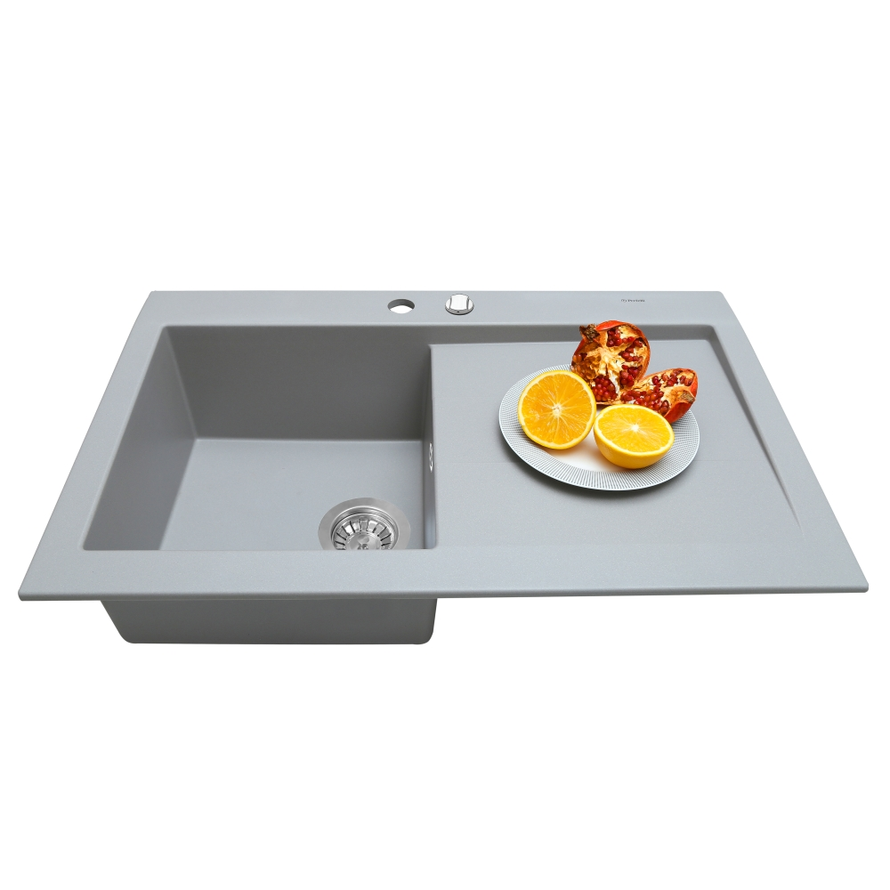 Мойка кухонная гранитная  Perfelli SOLO PGS 1181-80 GREY METALLIC