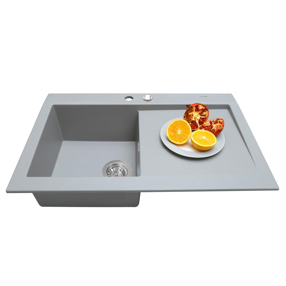 Granite kitchen sink Perfelli SOLO PGS 1181-80 GREY METALLIC
