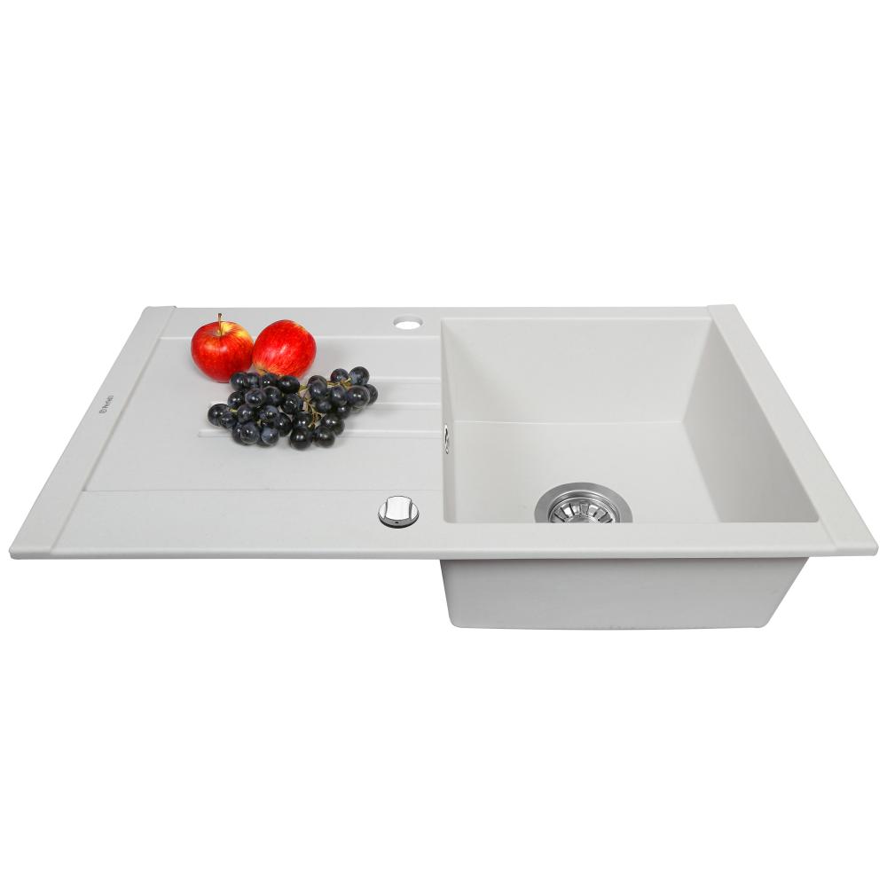 Granite kitchen sink Perfelli TINETTO PGT 114-76 WHITE