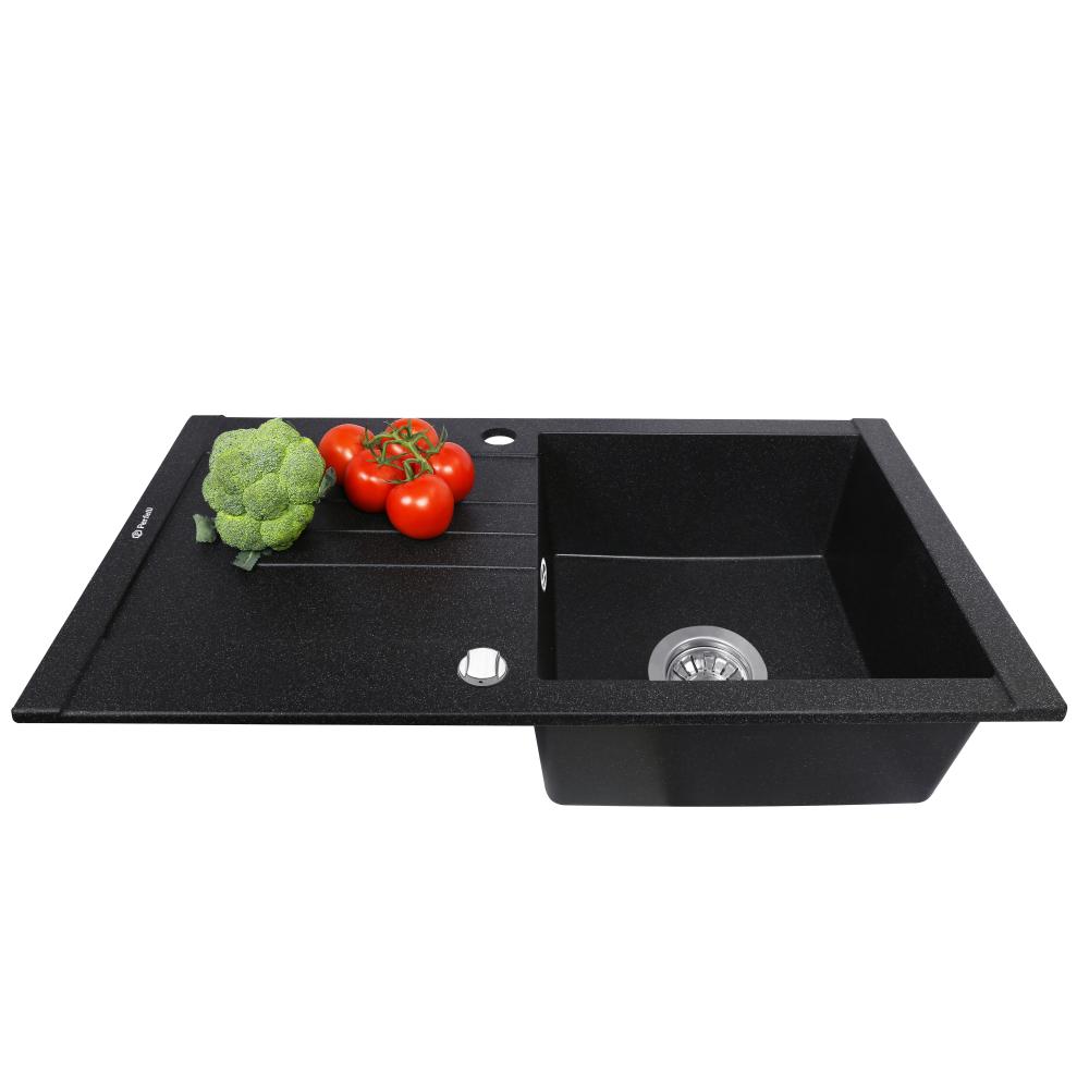 Granite kitchen sink Perfelli TINETTO PGT 1141-76 BLACK METALLIC
