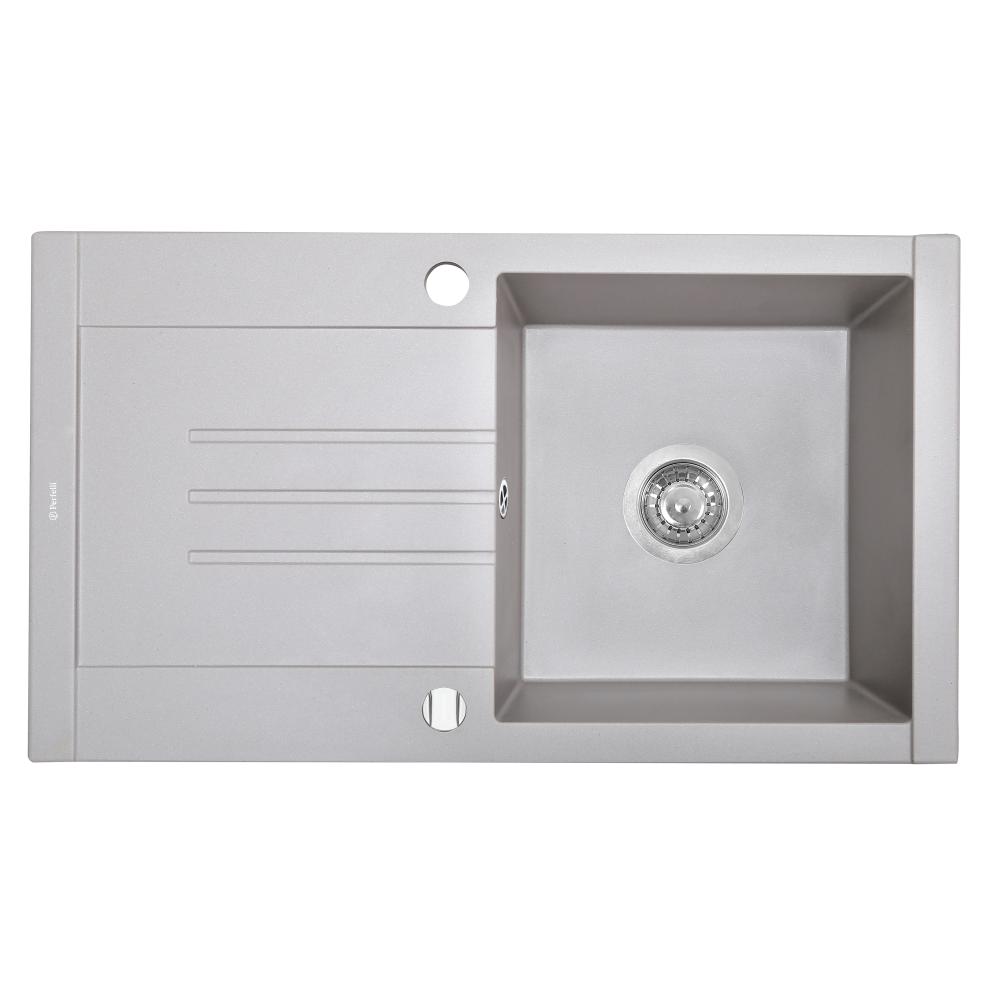 Granite kitchen sink Perfelli TINETTO PGT 1141-76 GREY METALLIC