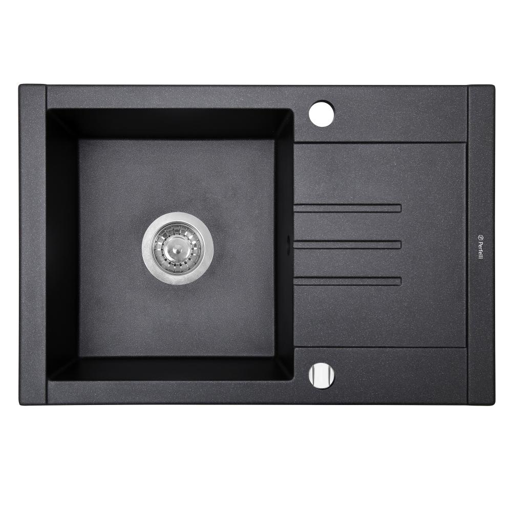 Granite kitchen sink Perfelli TINO PGT 134-66 BLACK